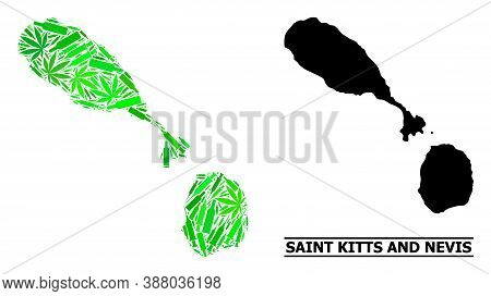 Drugs Mosaic And Solid Map Of Saint Kitts And Nevis. Vector Map Of Saint Kitts And Nevis Is Designed
