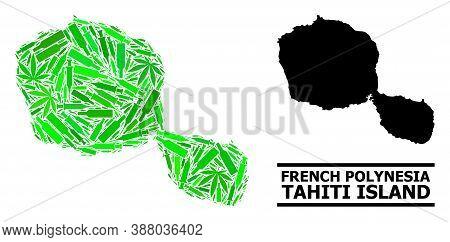 Addiction Mosaic And Usual Map Of Tahiti Island. Vector Map Of Tahiti Island Is Done From Randomized