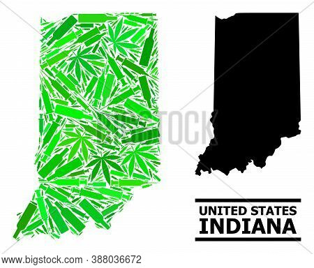 Addiction Mosaic And Solid Map Of Indiana State. Vector Map Of Indiana State Is Created From Randomi