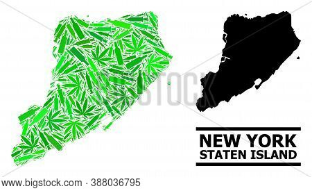 Drugs Mosaic And Usual Map Of Staten Island. Vector Map Of Staten Island Is Designed From Random Vac