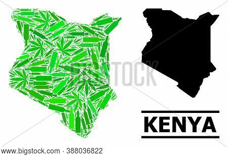 Drugs Mosaic And Solid Map Of Kenya. Vector Map Of Kenya Is Made Of Random Injection Needles, Hemp A
