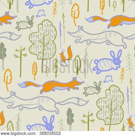 Children Is Pattern With Forest Animals For Outerwear And Surface Design Of Children Is Rooms