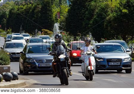 Bucharest, Romania - September 04, 2020: Motorcycles Are Speeding On A Boulevard In Bucharest. For E