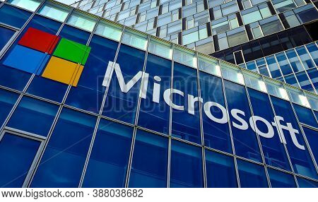 Bucharest, Romania - August 18, 2020: View Of Microsoft Romania Headquarters In City Gate Towers Sit