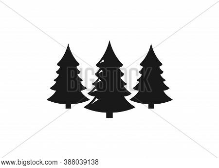 Christmas Tree Icon, Christmas Sign Symbol Vector. Pine Tree Icon Vector Illustration. Three Conifer