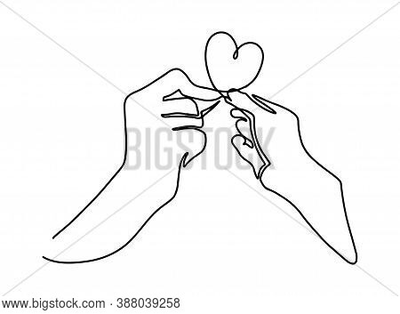 Continuous Line Art Or One Line Drawing Of Hand Symbols Love. Linear Style And Hand Drawn Vector Ill