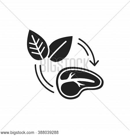 Plant-based Meat Black Glyph Icon. Meat Made From Plants. Designed And Created To Look Like, Taste L