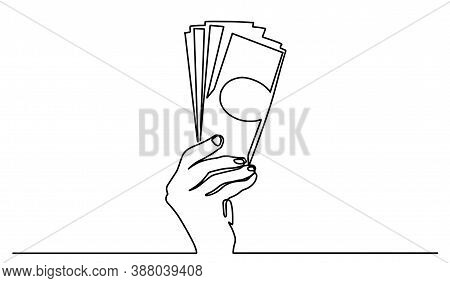 Payment With Money, Buying Or Purchase Of Goods. Continuous Line. Continuous Line Drawing Of Hand Gi