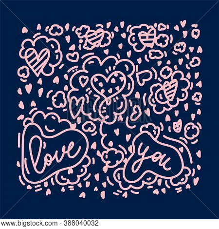 Postcard Background Dedicated To Love. With Lettering Love You On A Dark Background. The Illustratio