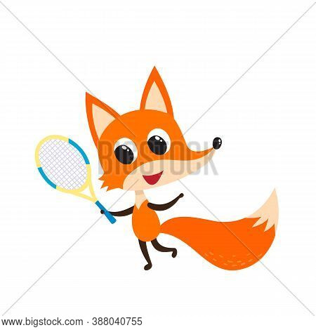 Playing Cheerful Fox With Tennis Racket Isolated On White