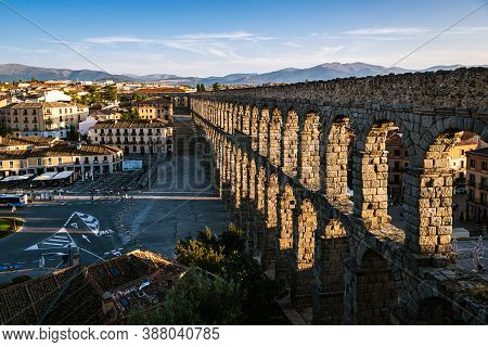 Segovia, Spain - 01 October 2020: Historical Aqueduct Of Segovia, A Famous Landmark In The City Of S