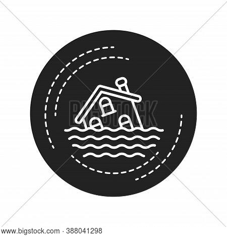 Flood Black Glyph Icon. An Overflow Of Water That Submerges Land That Is Usually Dry. Pictogram For