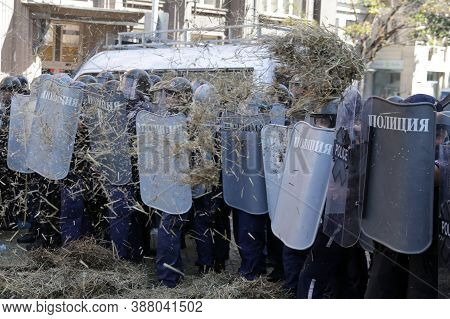 Sofia, Bulgaria - 2 September, 2020: Police Officers In Protective Uniforms From The Gendarmery Hide