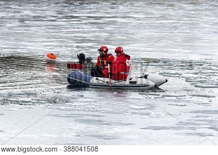 Sofia, Bulgaria - 6 January, 2020: Volunteers From Bulgarian Red Cross Are Seen In A Boat Before A T