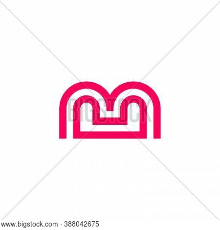 Letter Mu Abstract Stripes Line Geometric Logo Vector