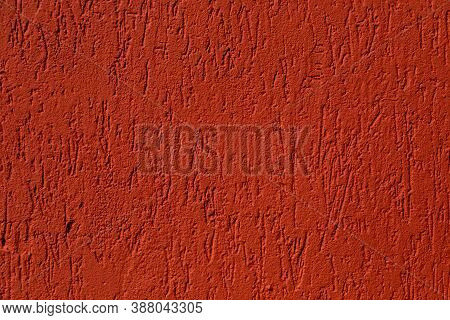 Falun Red Plaster Wall. Texture With A Copy Space