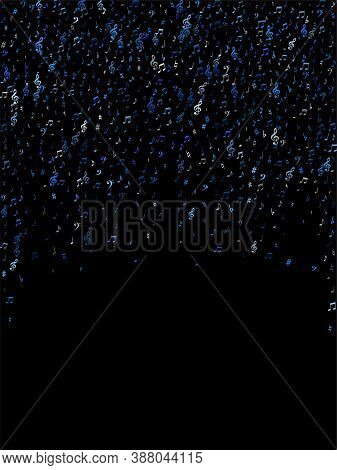 Blue Flying Musical Notes Isolated On Black Backdrop. Cute Musical Notation Symphony Signs, Notes Fo
