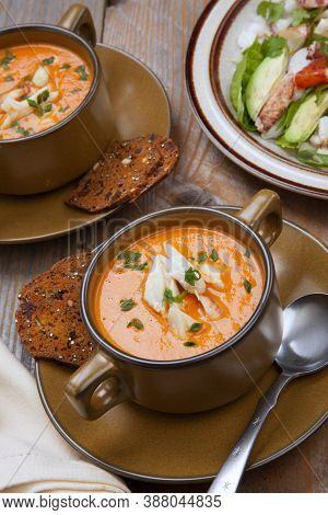 Crab Bisque And Blood Orange Crab Posole Salad
