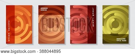 Promotional Catalogue Title Pages Collection. Graphic Banner Circles Spiral Motion Vector Backdrops.