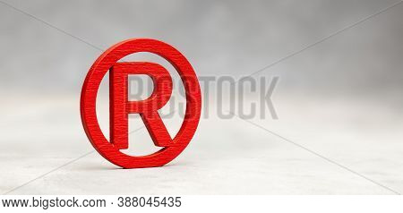 Red Wood Trademark Sign On Gray Background