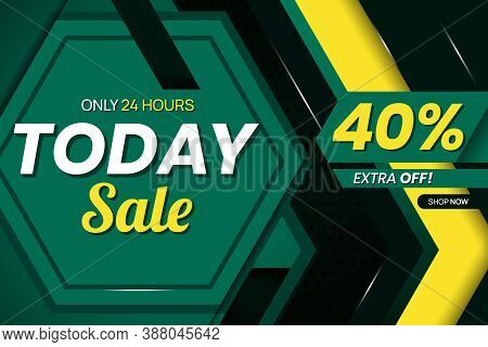 Vector Graphic Of Modern Mega Sale 40 Percent Banner Template. Perfect For Retail, Brochure, Banner,