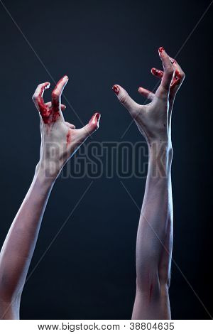 Bloody zombie hands, Halloween theme