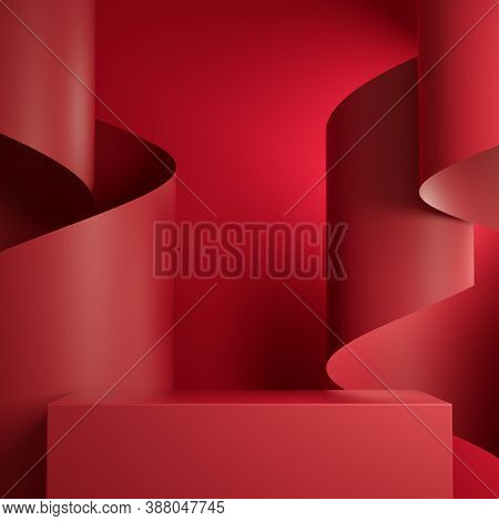 Premium Minimal  Podium Red Retangle Box Stage With Red Paper Ribbon Curve Abstract Background Scene