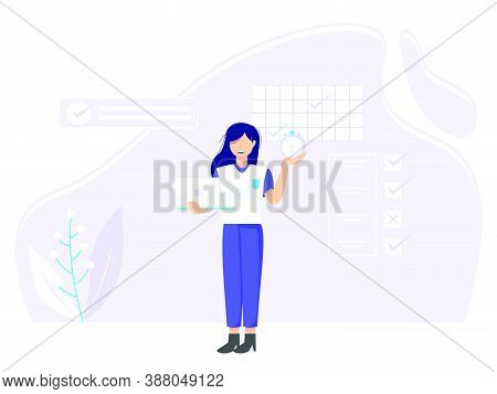 Planning Concept. Time Schedule By Filling In The Time Schedule. Vector Illustration Of Woman Fillin