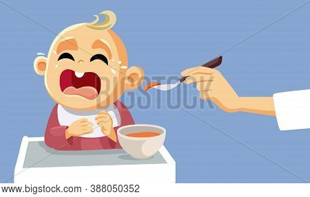 Baby Crying Refusing To Eat Vector Illustration