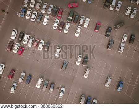 Aerial View Full Cars At Large Outdoor Parking Lots. Outlet Mall Parking Congestion And Crowded Park