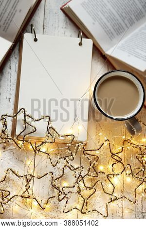 Christmas And New Year Festive Background.to Do List On Winter Holidays. Shopping List, Cup Of Tea A