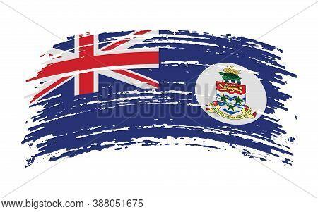 Cayman Islands Flag In Grunge Brush Stroke, Vector