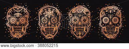 Mexican Golden Skulls Set. Mexican Golden Skulls Set. Gold Heads Vector Illustration. Metal Sugar Tr