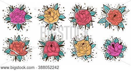 Colored Vintage Roses Set. Old School Vintage Roses Set. Outline Color Tattoo Flowers. Engraved Rose
