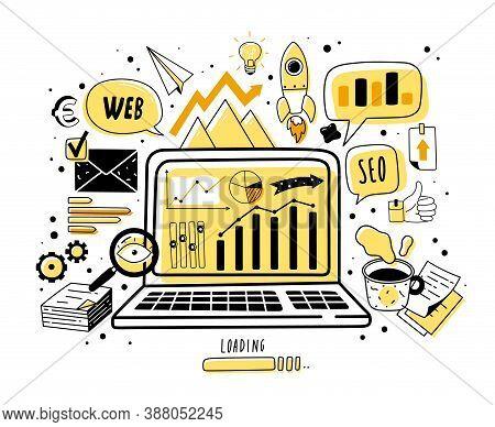 Web Analytics Doodle Icons Illustration. Web Analytics Doodle Icons Illustration. Hand Drawn Vector