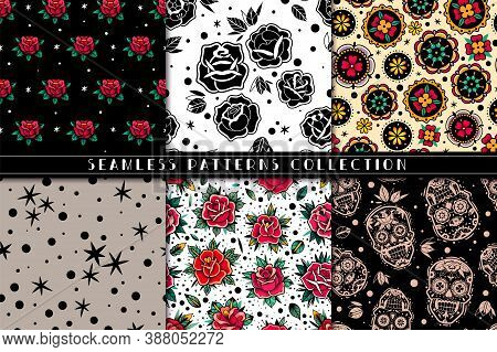 Old School Tattoo Roses Seamless Patterns Set. Mexican Skulls And Roses Seamless Patterns Collection