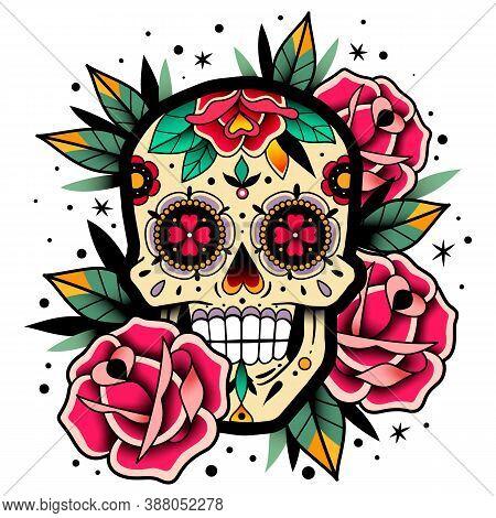 Mexican Roses Skull. Mexican Roses Skull. Vector Illustration. Dia De Los Muertos Shugar Colorful He