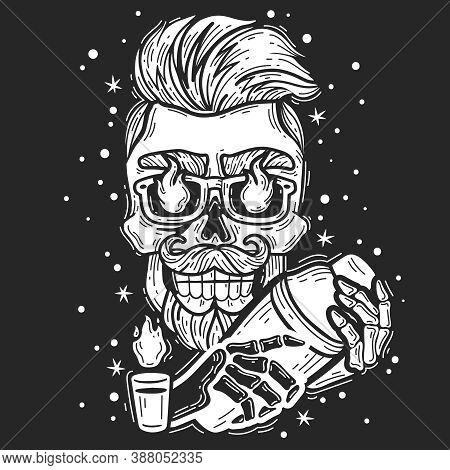 Hipster Skull Bartender. Hipster Skull Bartender Emblem. Silhouette Head Vector Isolated Illustratio