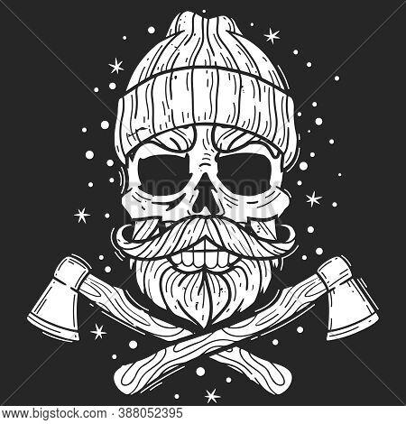 Hipster Skull Lumberjack. Hipster Skull Lumberjack Emblem. Silhouette Head Vector Isolated Illustrat
