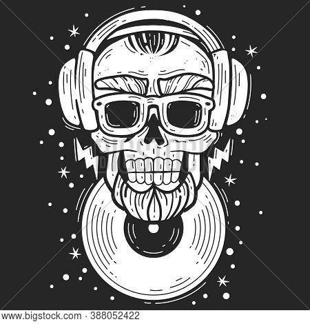 Hipster Skull Dj. Hipster Skull Dj Music Emblem. Silhouette Head Vector Isolated Illustration. Bruta