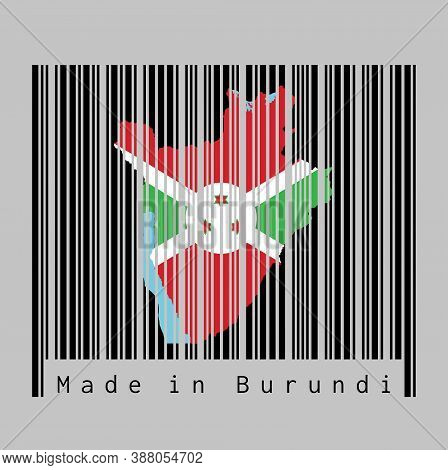 Barcode Set The Shape To Burundi Map Outline And The Color Of Burundi Flag On Black Barcode With Gre