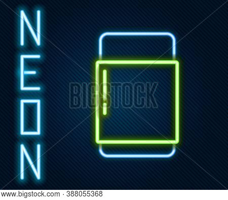 Glowing Neon Line Eraser Or Rubber Icon Isolated On Black Background. Colorful Outline Concept. Vect