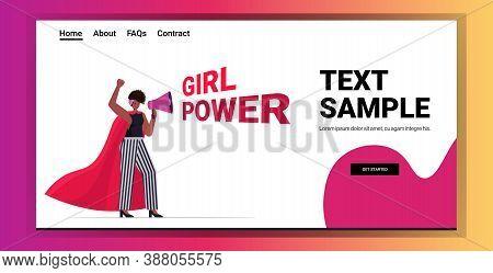 Girl Activist Screaming In Loudspeaker Female Empowerment Movement Women Power Concept Full Length H