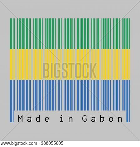 Barcode Set The Color Of Gabon Flag, A Horizontal Triband Of Green, Gold And Blue. Text: Made In Far