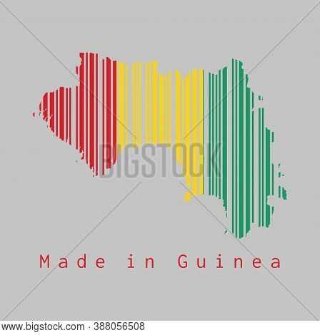 Barcode Set The Shape To Guinea Map Outline And The Color Of Guinea Flag On Grey Background, Text: M