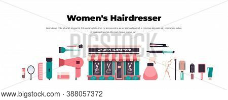 Set Hairdresser Tools And Accessories Collection Beauty Salon Concept Horizontal Copy Space Vector I