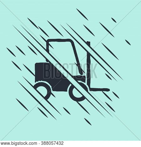 Black Forklift Truck Icon Isolated On Green Background. Fork Loader And Cardboard Box. Cargo Deliver