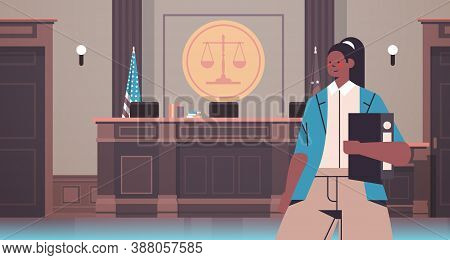 Female Lawyer Holding Judge Book Legal Law Advice Justice Concept Court Interior Portrait Horizontal