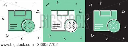 Set Carton Cardboard Box And Delete Icon Isolated On White And Green, Black Background. Box, Package