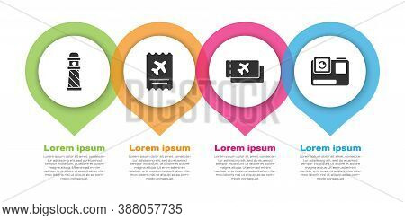 Set Lighthouse, Airline Ticket, Airline Ticket And Action Extreme Camera. Business Infographic Templ